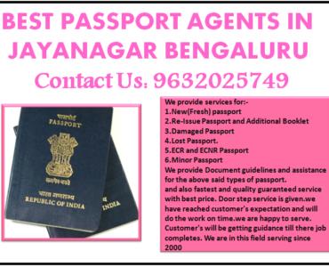 BEST PASSPORT AGENTS IN JAYANAGAR BENGALURU 9632025749
