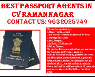 BEST PASSPORT AGENTS IN CV RAMAN NAGAR 9632025749