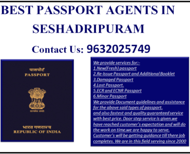 BEST PASSPORT AGENTS IN SESHADRIPURAM 9632025749