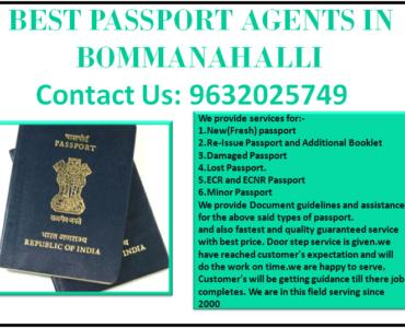 BEST PASSPORT AGENTS IN BOMMANAHALLI 9632025749