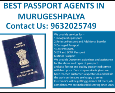 BEST PASSPORT AGENTS IN MURUGESHPALYA 9632025749