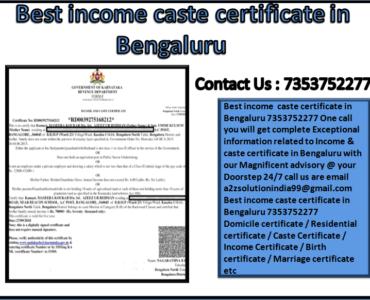 Best income caste certificate in Bengaluru 7353752277