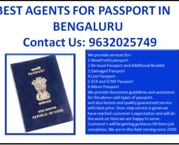 BEST AGENTS FOR PASSPORT IN BENGALURU 9632025749