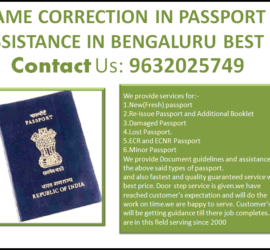 NAME CORRECTION IN PASSPORT ASSISTANCE IN BENGALURU BEST 9632025749