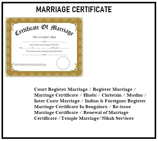 MARRIAGE CERTIFICATE 101